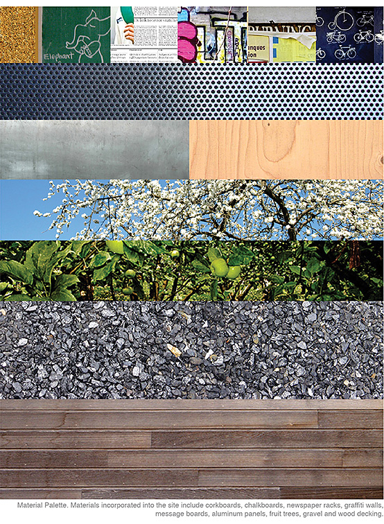Material palette. Materials incorporated into the site include corkboards, chalkboards, newspaper racks, graffiti walls, message boards, aluminum panels, fruit trees, gravel, and wood decking.