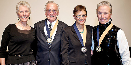 CED Dean Jennifer Wolch stands with Distinguished Alumni Award-winners Peter Dodge, Therese McMillan, and Topher Delaney.