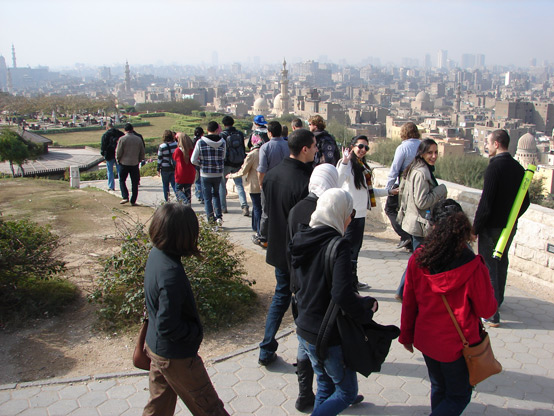 Cairo university faculty lead workshop participants on a tour of Al-Azhar Park and Old Cairo's Al-Darb Al-Ahmar district.