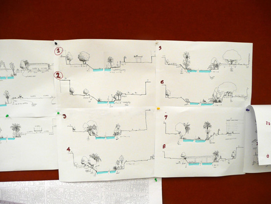 Students sketch cross-sections of the Nile to assess constraints and opportunities for each study site (sketches by Krishna Balakrishnan).