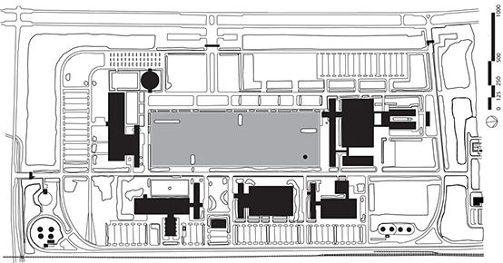 Site plan of the 1956 General Motors Technical Center in Warren, Michigan, an early and influential corporate campus. The essential site plan components of the corporate campus are the central open space surrounded by laboratory buildings circumscribed by peripheral parking and driveways. Corporations built corporate campuses to house middle management research and development divisions comprised of prized corporate scientists and engineers.