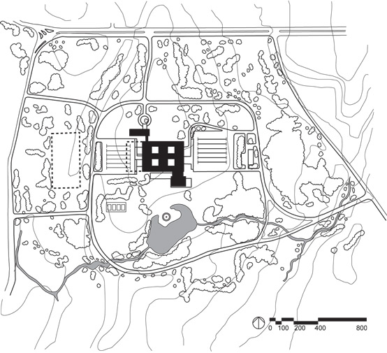 Site plan of the Connecticut General Life Insurance Company headquarters that opened in 1956 in Bloomfield, Connecticut, outside of Hartford. A suburban office for top executives, it typifies the corporate estate. An approach drive culminates at the central building complex and two blocks of parking flank the building providing parking for hundreds of employees. Two hundred and eighty acres of carefully composed pastoral scenery envelope both the structure and parking, to be viewed both from the interior of the office structure and from the outside, as a bucolic frame for the corporate facility.