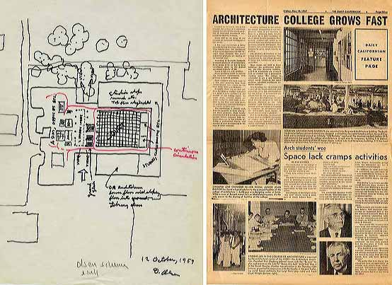 "Early Schema for Wurster Hall, 1959; ""Architecture College Grows Fast"" from the UC Berkeley student newspaper The Daily Californian, May 10, 1957"