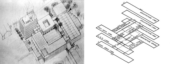 Early Massing Drawing of Wurster Hall; Proposed Layout of Wurster Hall