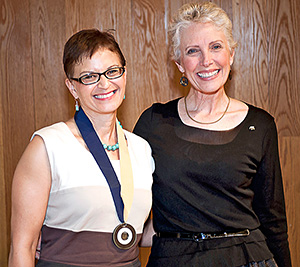 CED Dean Jennifer Wolch and Distinguished Alumni Award-winner Therese McMillan.