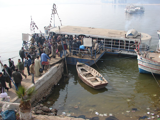 Overcrowded ferries arriving at Maadi's ferry landing demonstrate the need for a more robust and efficient ferry system.