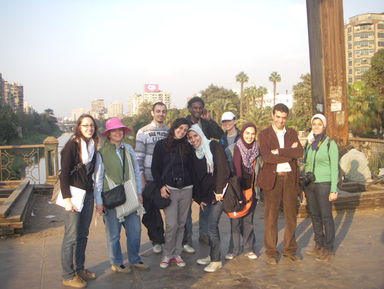 Old Cairo survey team on the Manasterly Pedestrian Bridge (from left to right: Adrienne, Professor Mozingo, Ahmed, Nada, Krishna, Salsabil, Rachael, Nada, Aly, Noha)