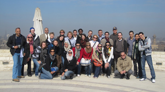 CU, AUC, and UCB workshop students and faculty at Al-Azhar Park in January, 2011