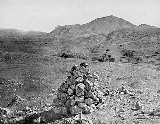 Ancient boundary monument No. XVI was a simple pile of stones (early 1850s?)