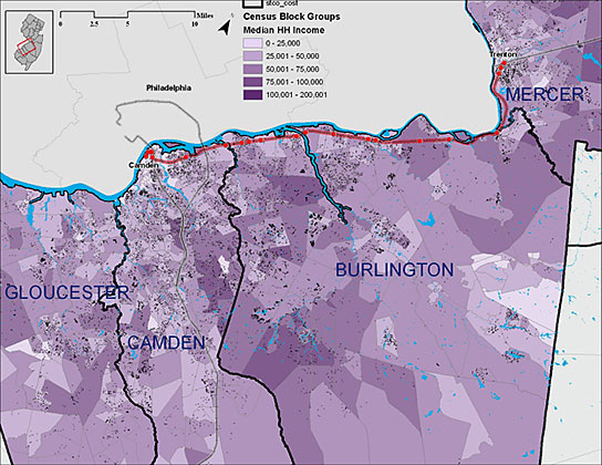 Map showing household income in the 4 county area along the River Line.