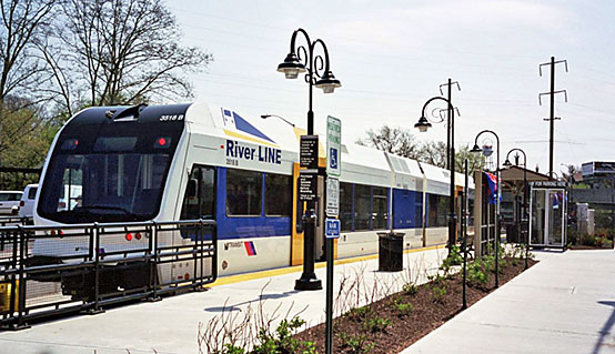 New River Line diesel train. The goal as with many rail transit projects is to attract so-called choice riders. Some evidence that this happened; for example, a substantially higher share of riders on the River Line access it via park and ride than bus users.